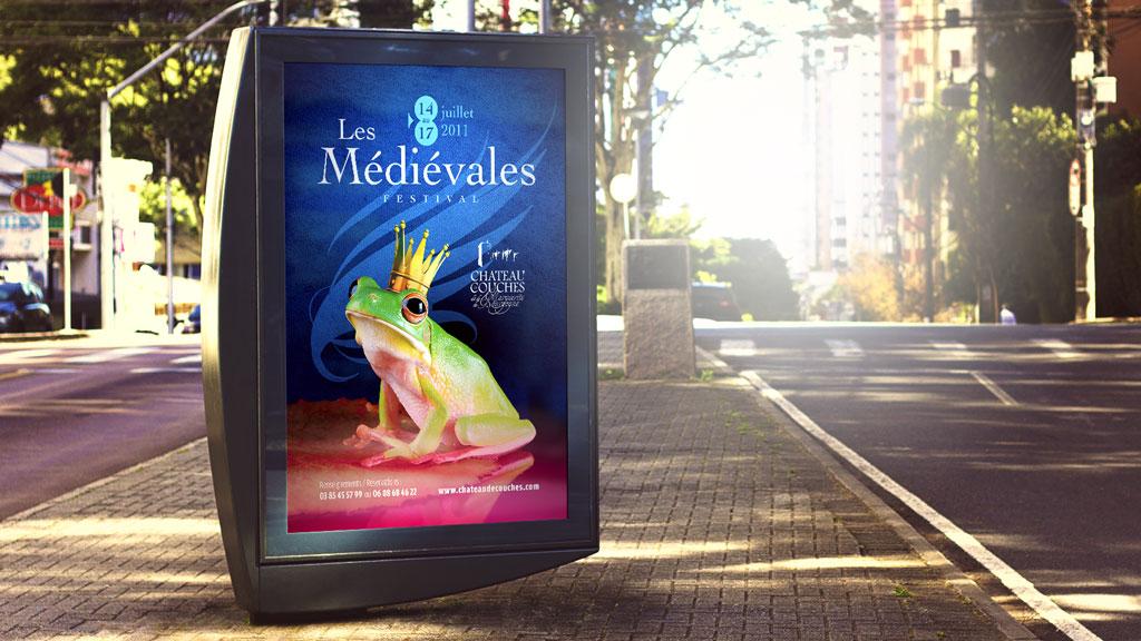 Affiche du flyer pour le Festival Les Médiévales au Château de Couches - ZONALPHA | Agence de communication