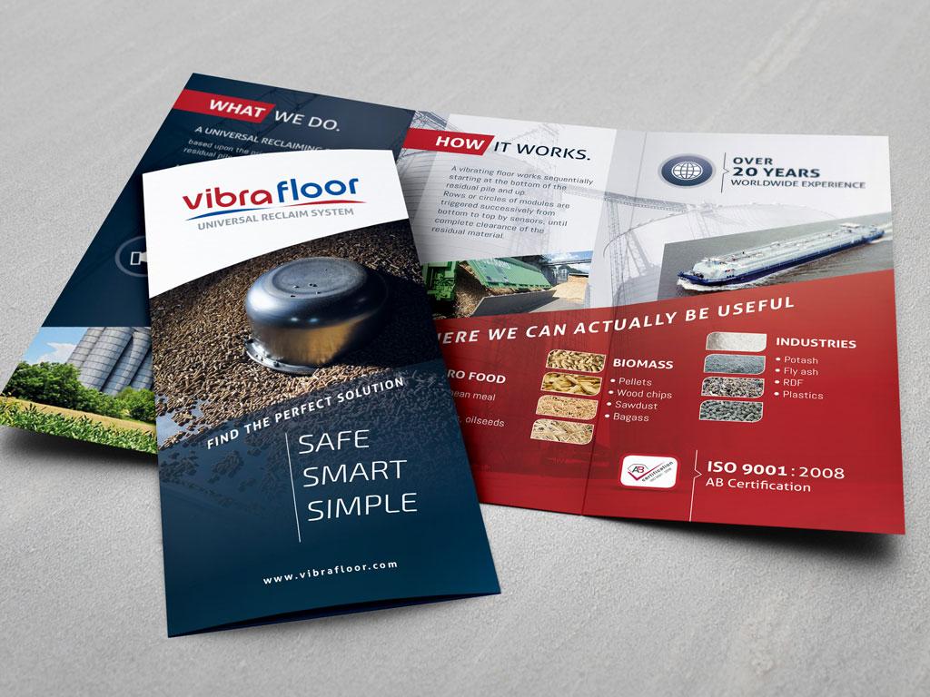 Brochure dépliant 3 volets pour Vibrafloor - ZONALPHA | Agence de communication