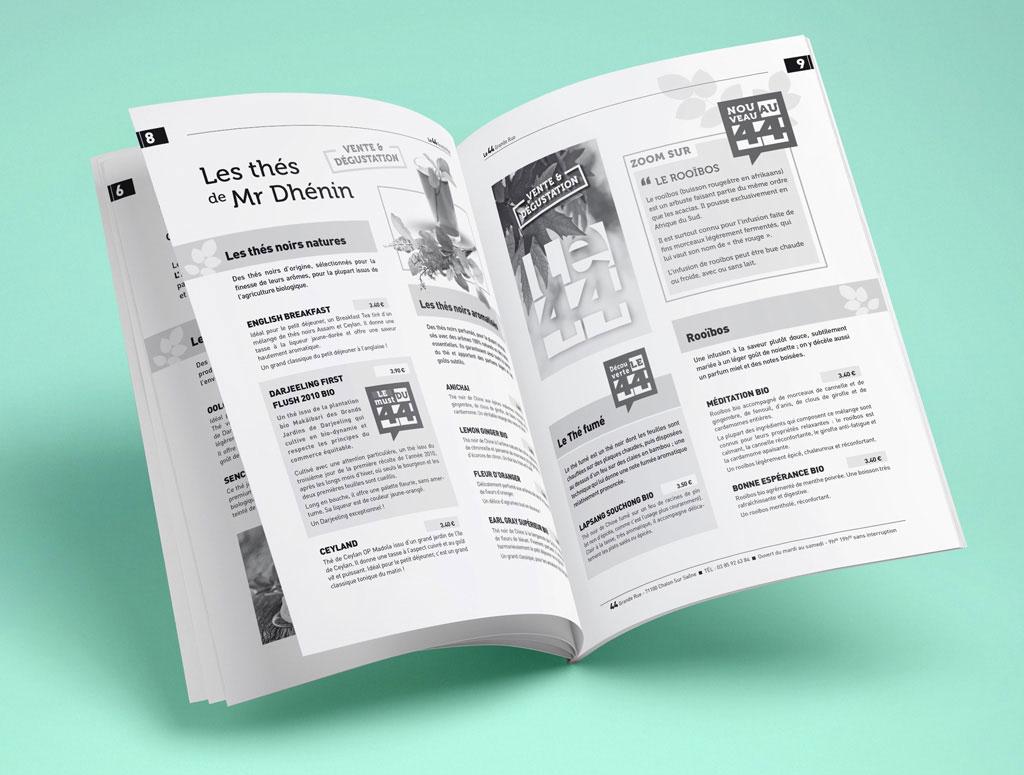 Carte de restauration, brochure pour le 44 Salon de Thé à Chalon - ZONALPHA | Agence de communication